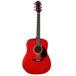 Hohner HW 220 TWR, dreadnought steel string guitar, transparent red